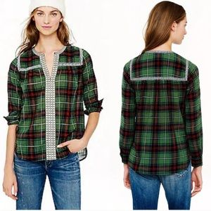 J. Crew Embroidered Plaid Peasant Style Top